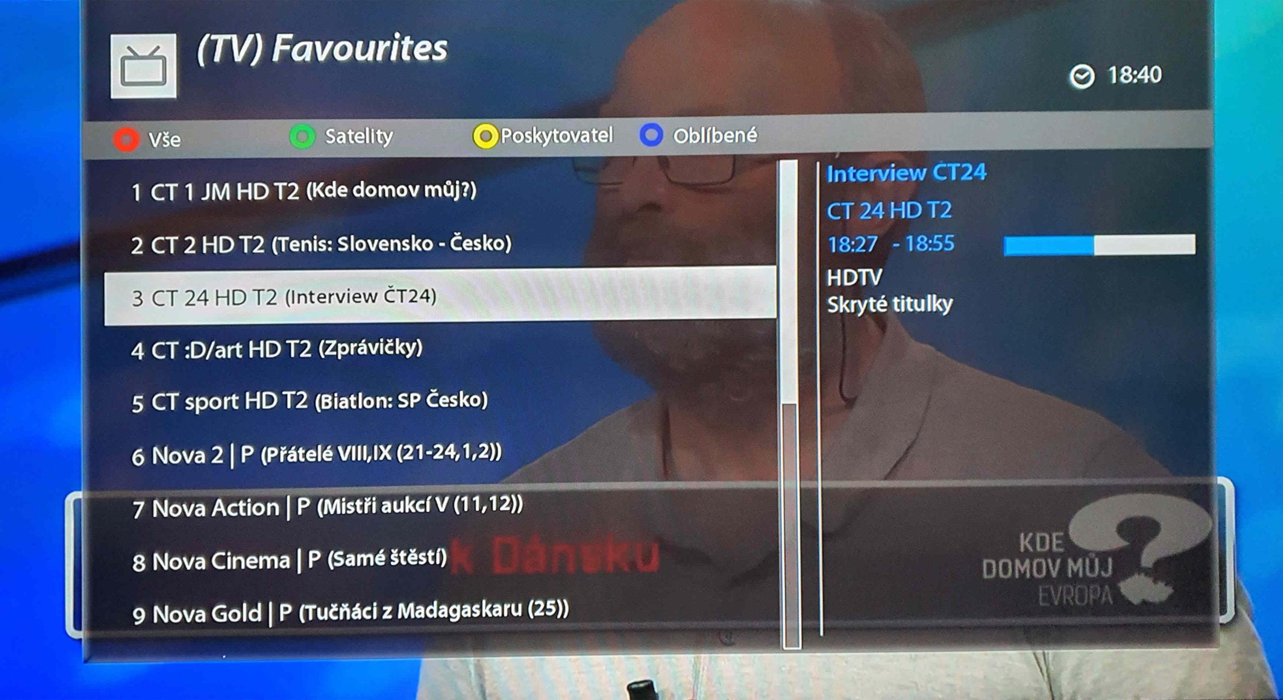 Seznam oblíbených programů na zařízení  VU+ Zero 4K